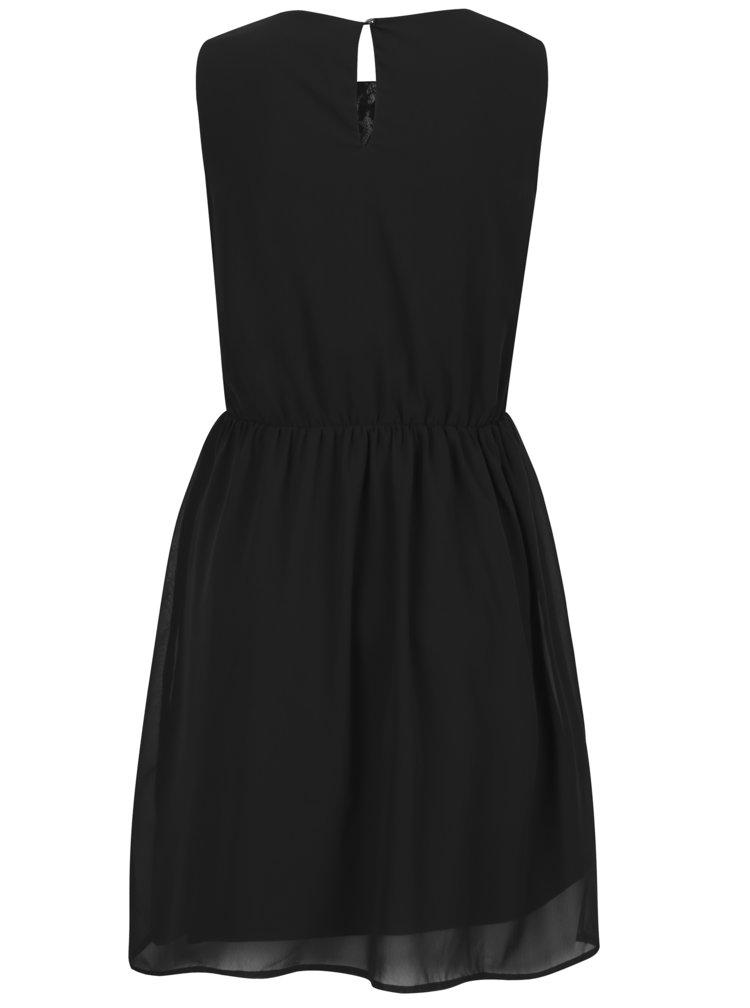 Černé šaty s překládaným výstřihem a zdobením v dekoltu VERO MODA Irie