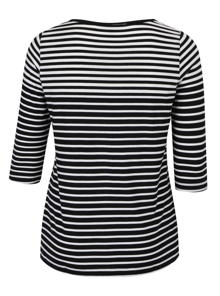 Černé pruhované tričko s 3/4 rukávy Ulla Popken
