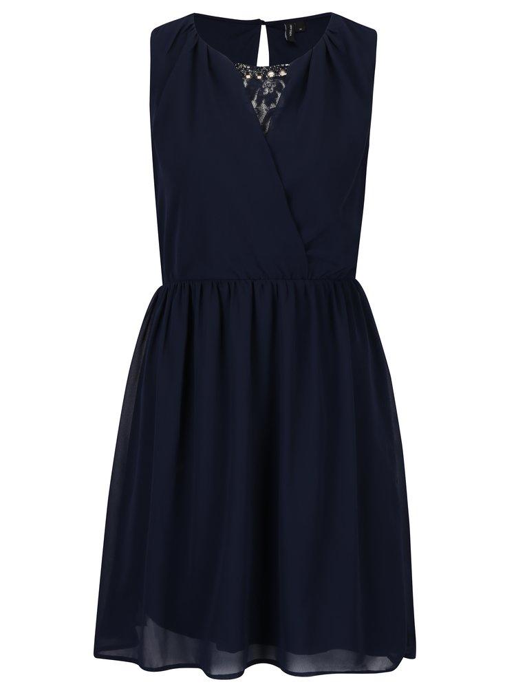 Tmavě modré šaty s překládaným výstřihem a zdobením v dekoltu VERO MODA Irie