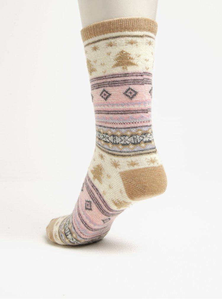 Dárková sada tří párů dámských vlněných ponožek v šedé a krémové barvě Something Special