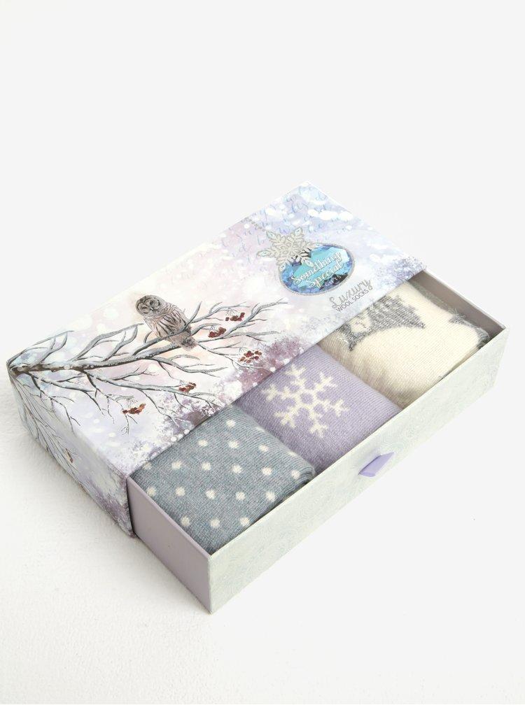Set cadou de 3 perechi de sosete crem, mov si albastru cu model Something Special