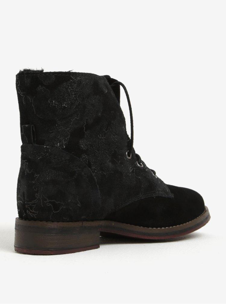 Černé dámské semišové zimní kotníkové boty s.Oliver