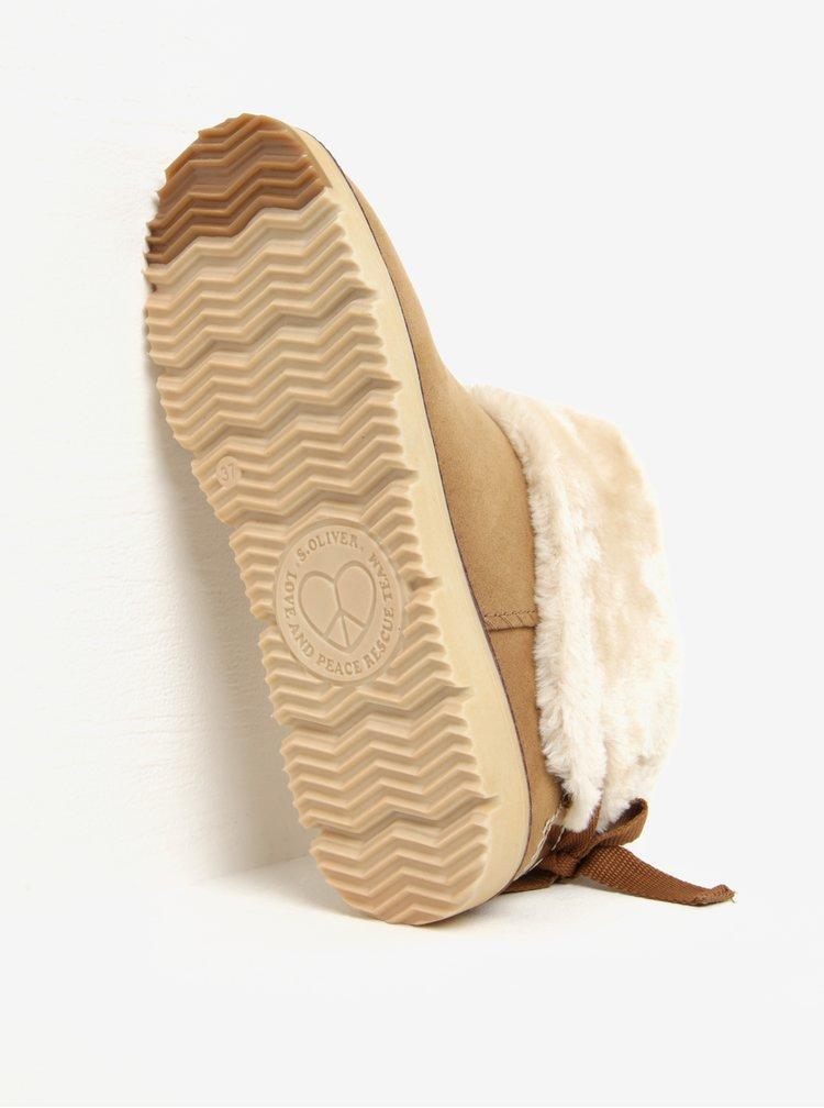 Ghete de iarna maro deschis cu blana artificiala pentru femei - s.Oliver