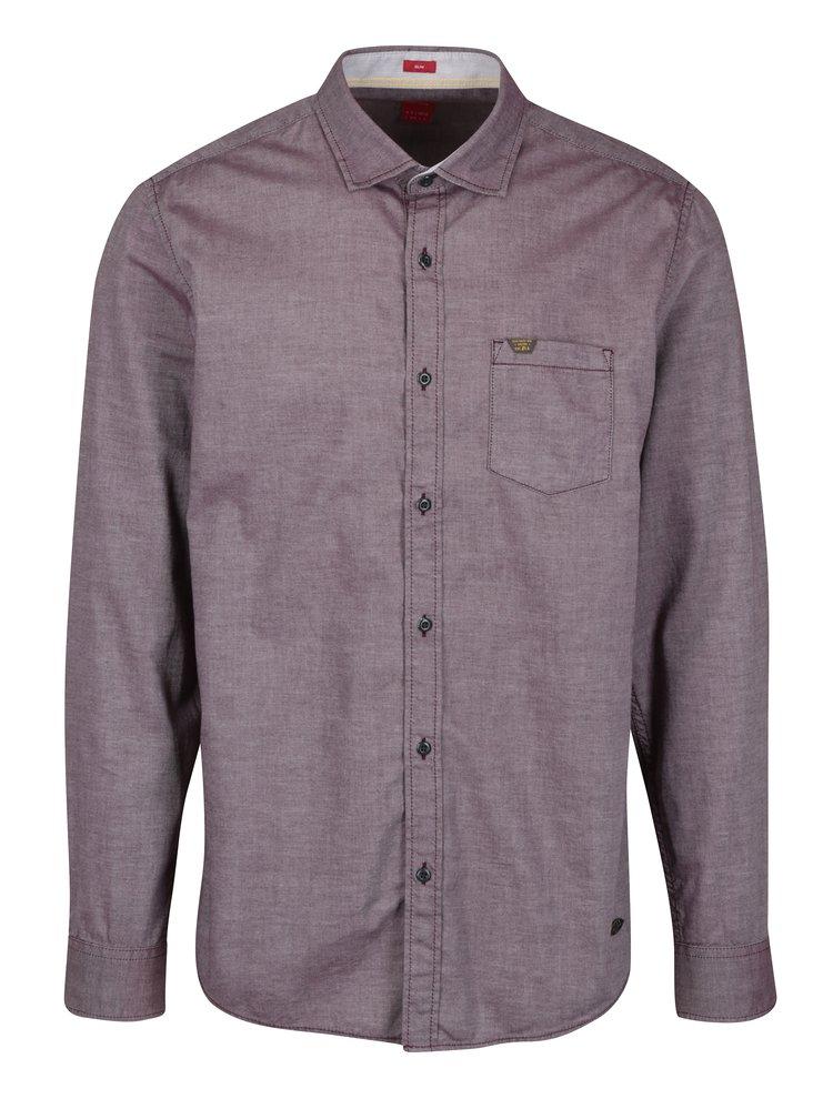 Vínová pánská slim fit košile s jemným vzorem s.Oliver