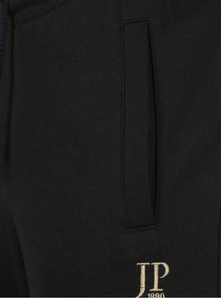 Pantaloni sport negri cu talie elastica si logo brodat - JP 1880