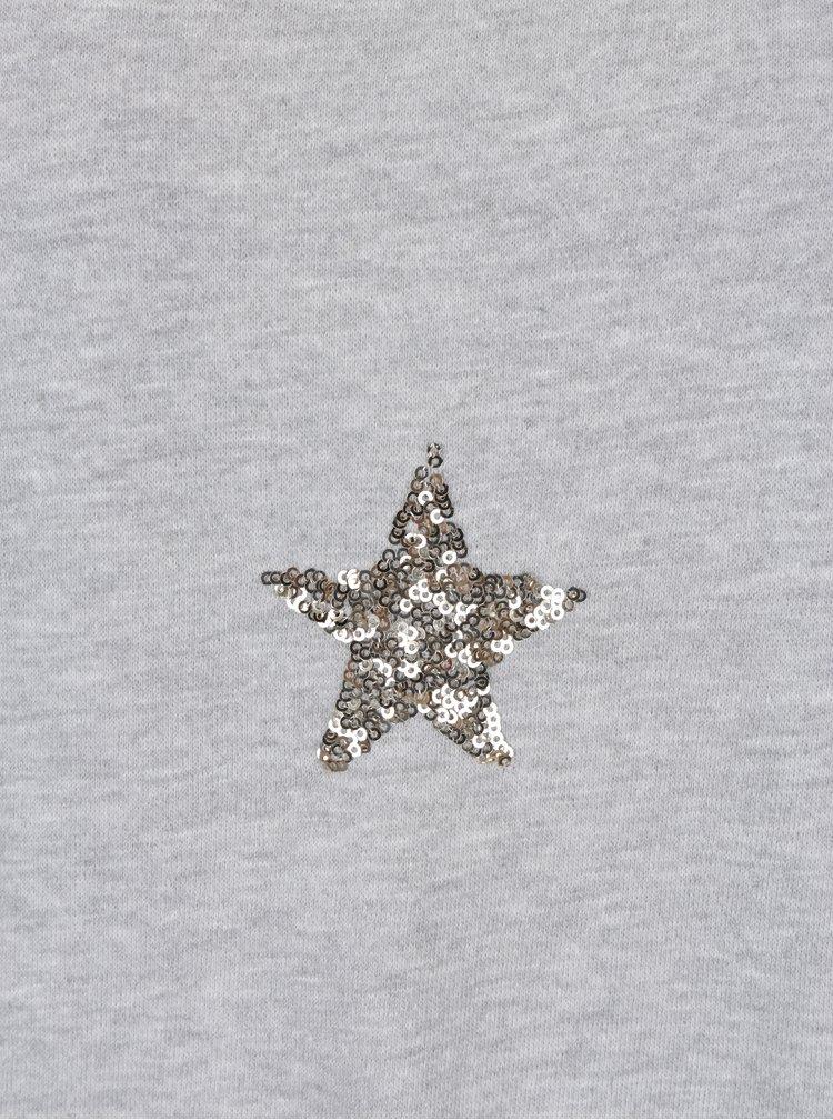 Světle šedá mikina s flitrovými hvězdami ve zlaté barvě VERO MODA Funny