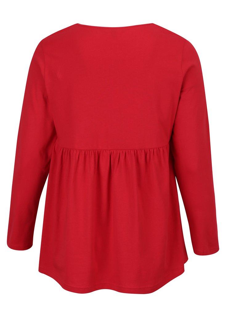 Červená tunika s dlouhým rukávem Ulla Popken