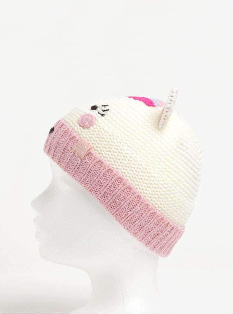 Růžovo-krémová holčičí čepice ve tvaru jednorožce Tom Joule