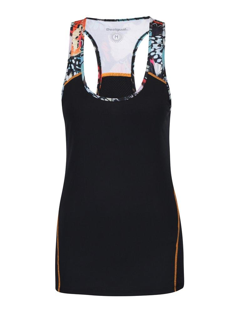 Top sport negru cu insertii colorate Desigual Sport