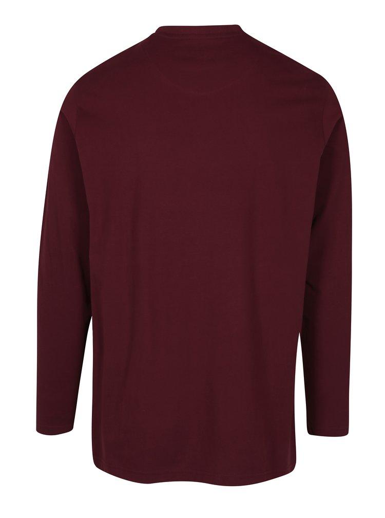 Vínové pyžamové triko s dlouhým rukávem JP 1880
