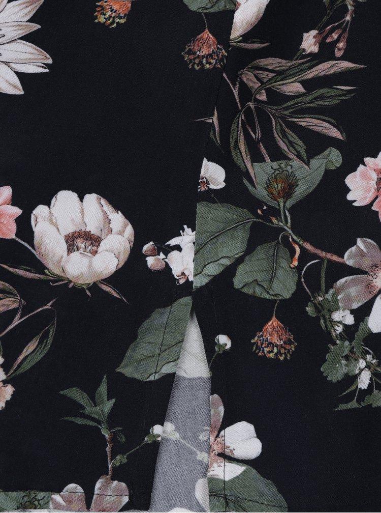 Černé květované košilové šaty s dlouhým rukávem Ulla Popken