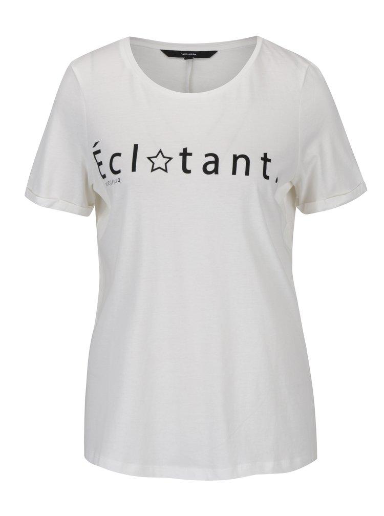 Krémové tričko s potiskem a krátkým rukávem VERO MODA Chick