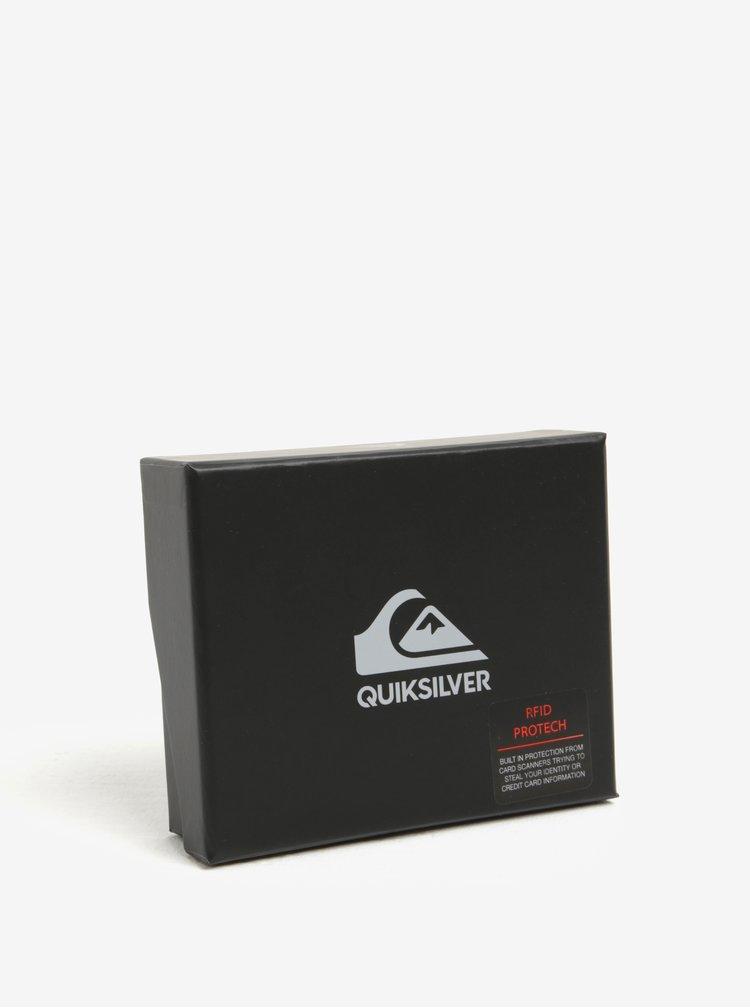 Portofel maro din piele cu sistem anti-furt pentru barbati Quiksilver Mackii Plus