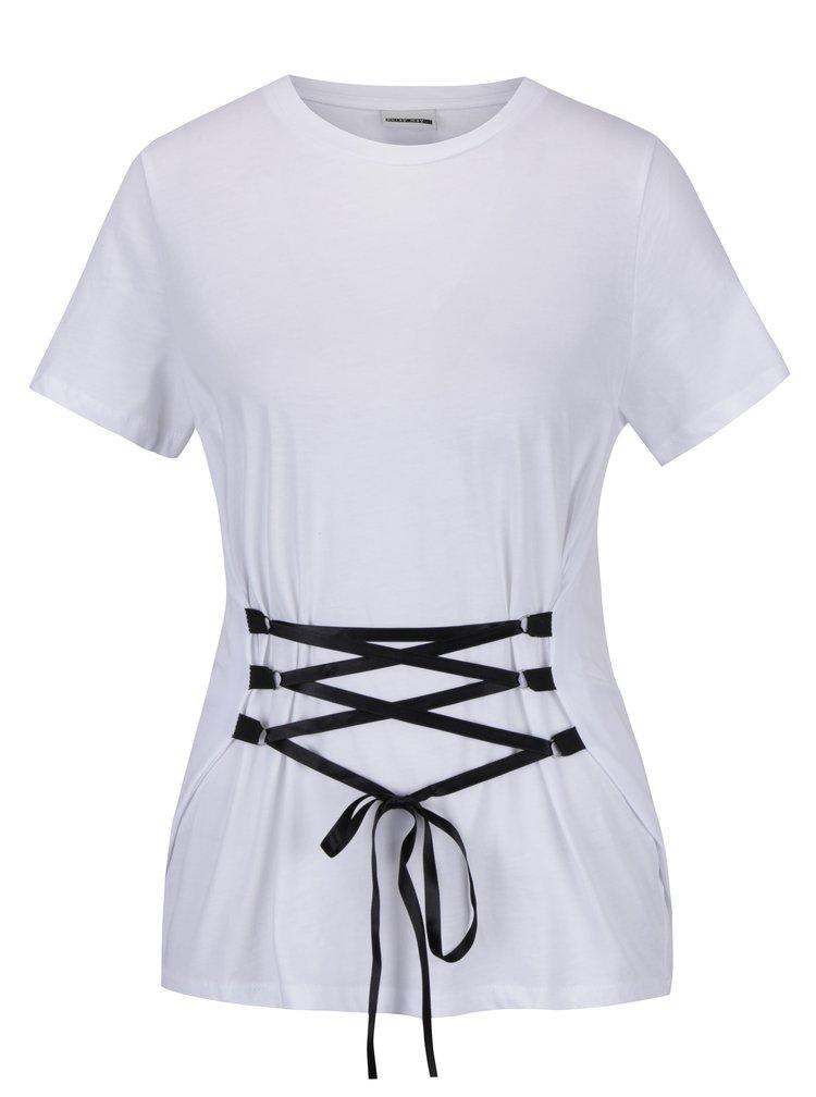 Bílé tričko se šněrováním Noisy May Philippa
