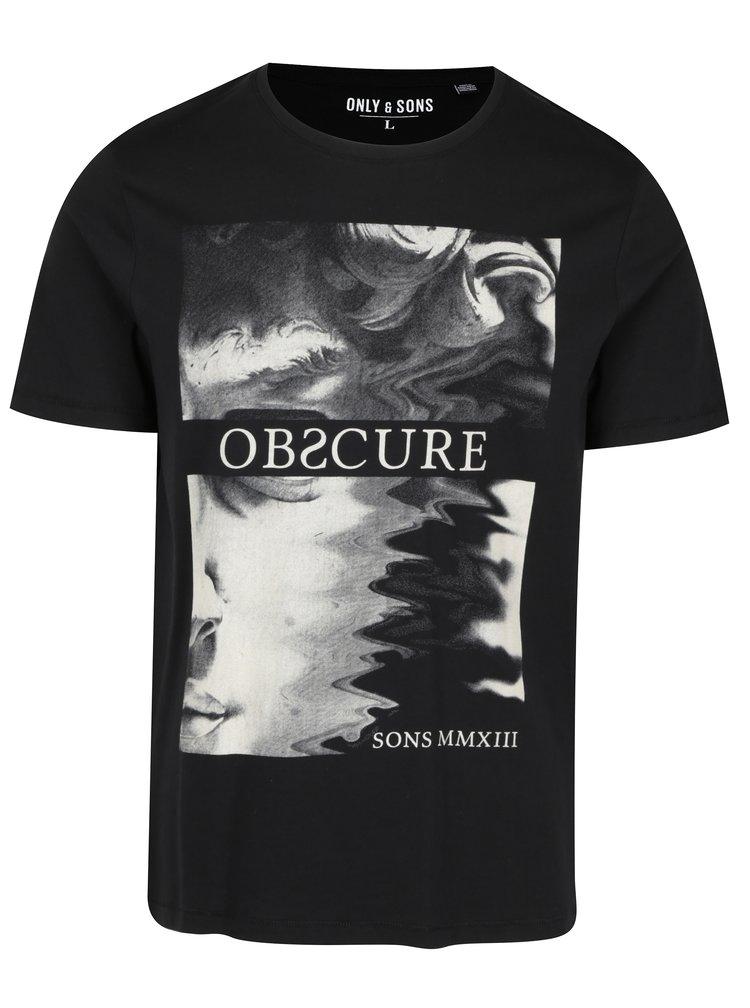Tricou negru din bumbac cu print - ONLY & SONS Malone