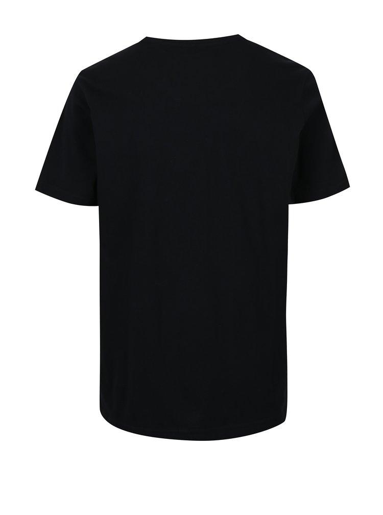 Černé klučičí regular fit tričko s potiskem Quiksilver Stacked
