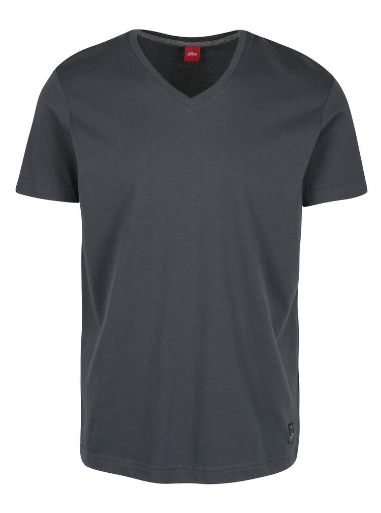 Tricou slim fit gri inchis cu anchior pentru barbati - s.Oliver
