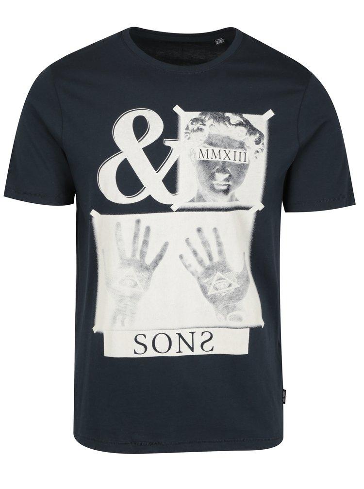 Tricou negru cu print din bumbac - ONLY & SONS Malone