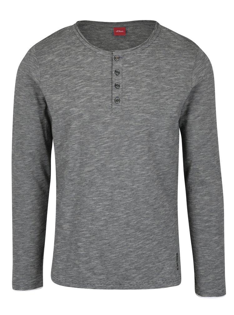 Bílo-černé pánské pruhované regular fit tričko s.Oliver