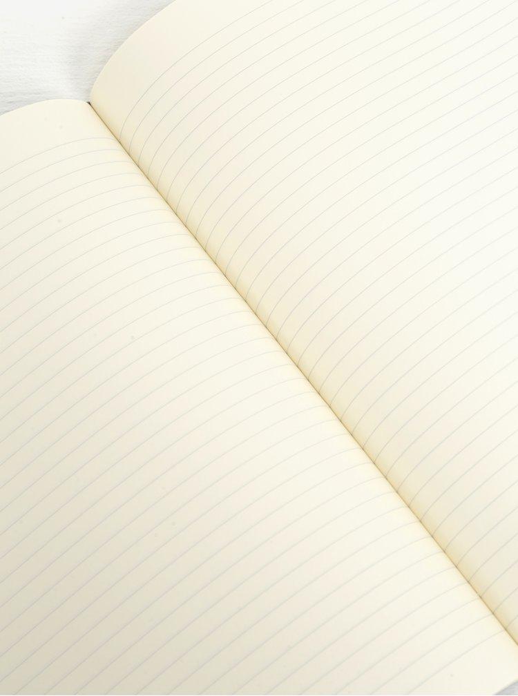 Černý velký linkovaný zápisník v měkké vazbě Moleskine