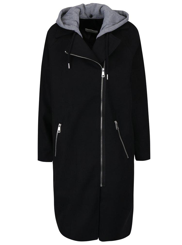 Černý dlouhý kabát s odepínatelnou kapucí Noisy May Cohiba