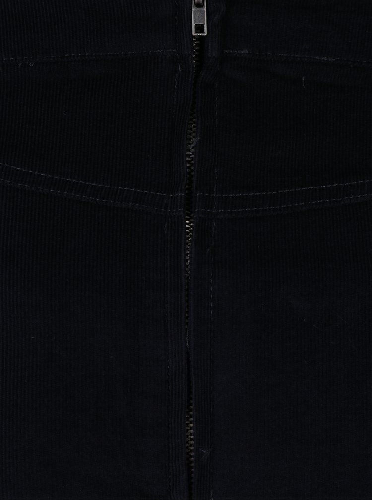 Fusta albastru inchis din material raiat Ulla Popken
