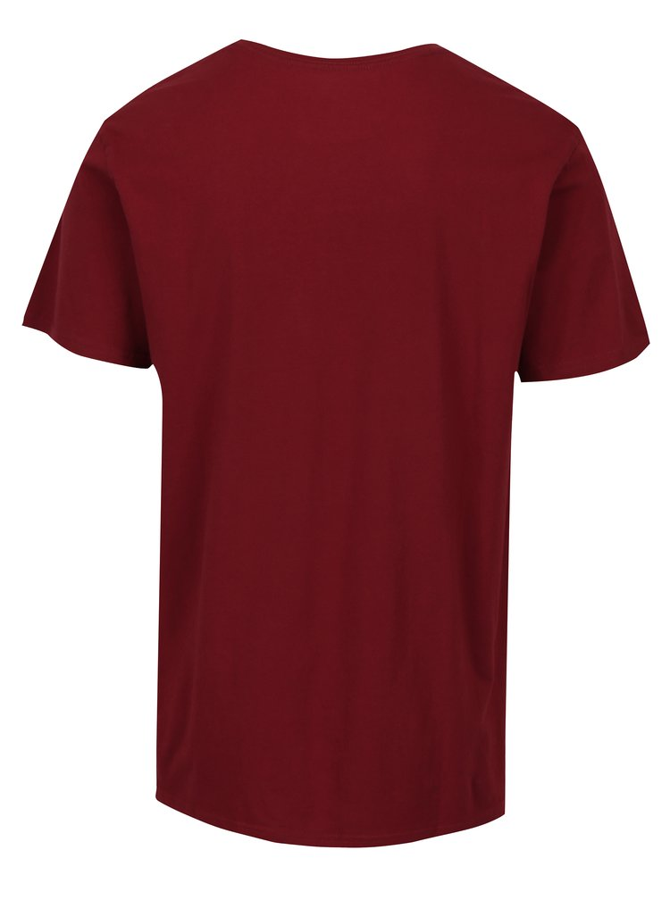 Tricou modern fit bordo&crem cu print Quiksilver Clean Turn