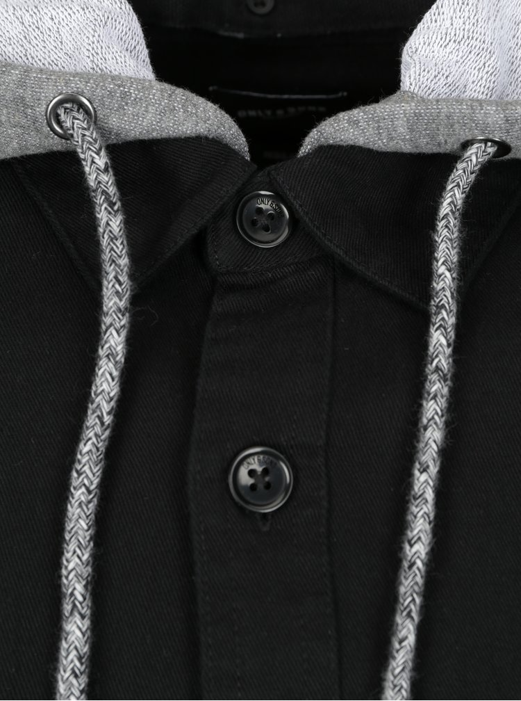Černá košile s odnímatelnou kapucí ONLY & SONS Bertram