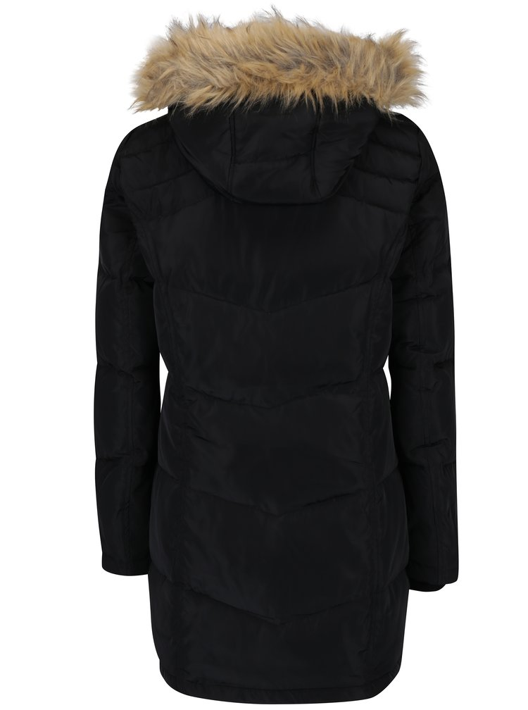 Černý péřový prošívaný dlouhý kabát s umělou kožešinou VERO MODA Fea