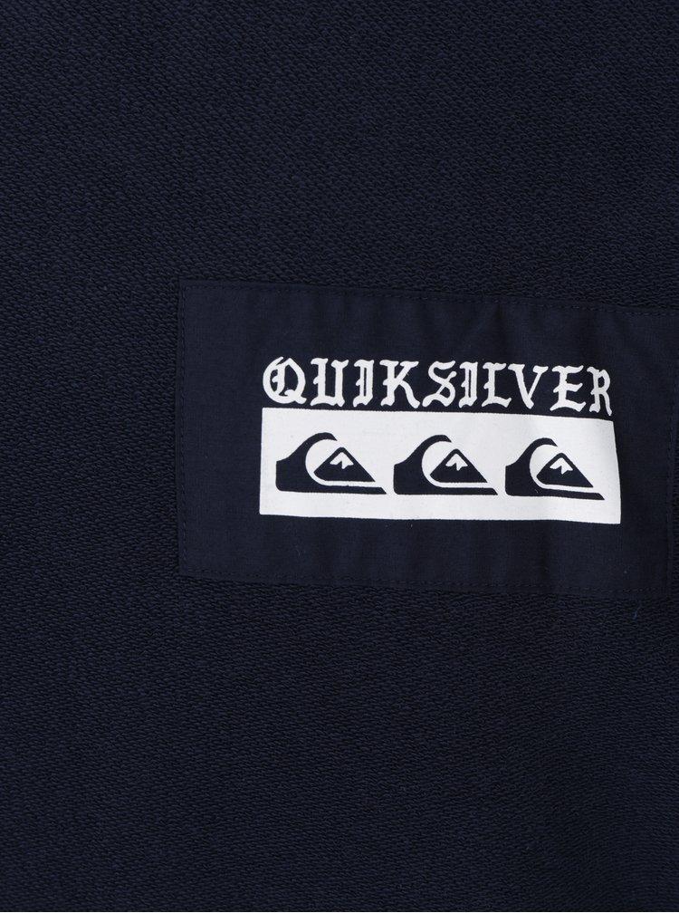 Tmavě modrá pánská mikina s nášivkami s potiskem Quiksilver Spray Daze
