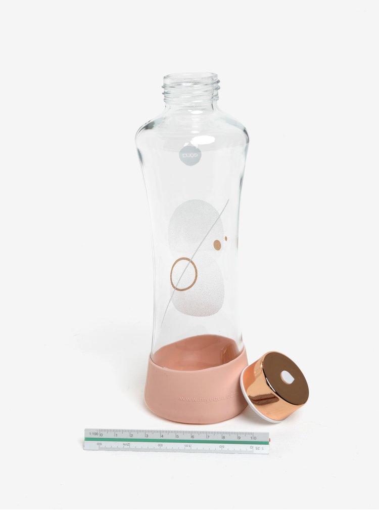 Růžová skleněná lahev s potiskem EQUA Metallic (550 ml)