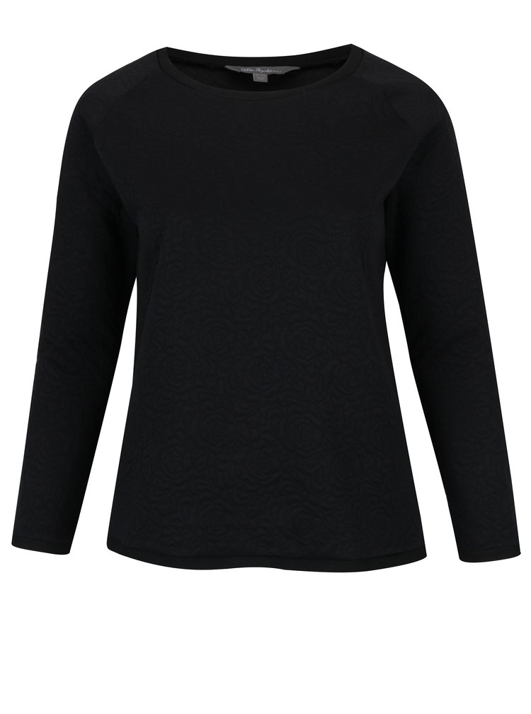 Bluza neagra cu model floral in relief Ulla Popken