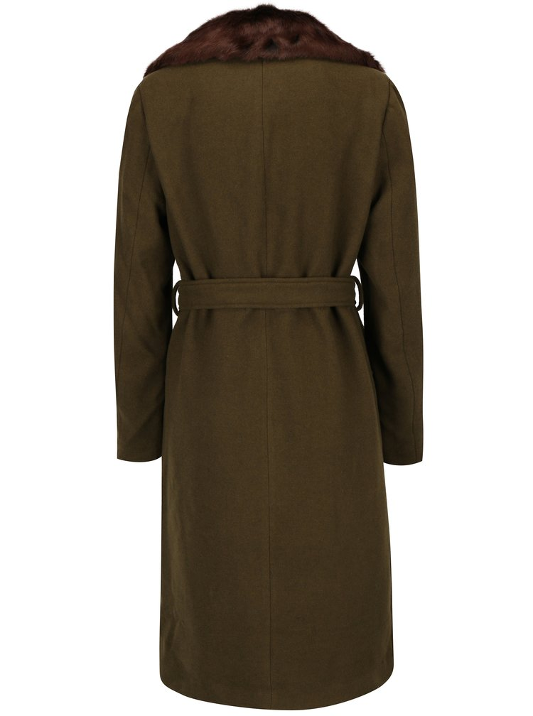 Khaki kabát s umělou kožešinou VERO MODA Prague