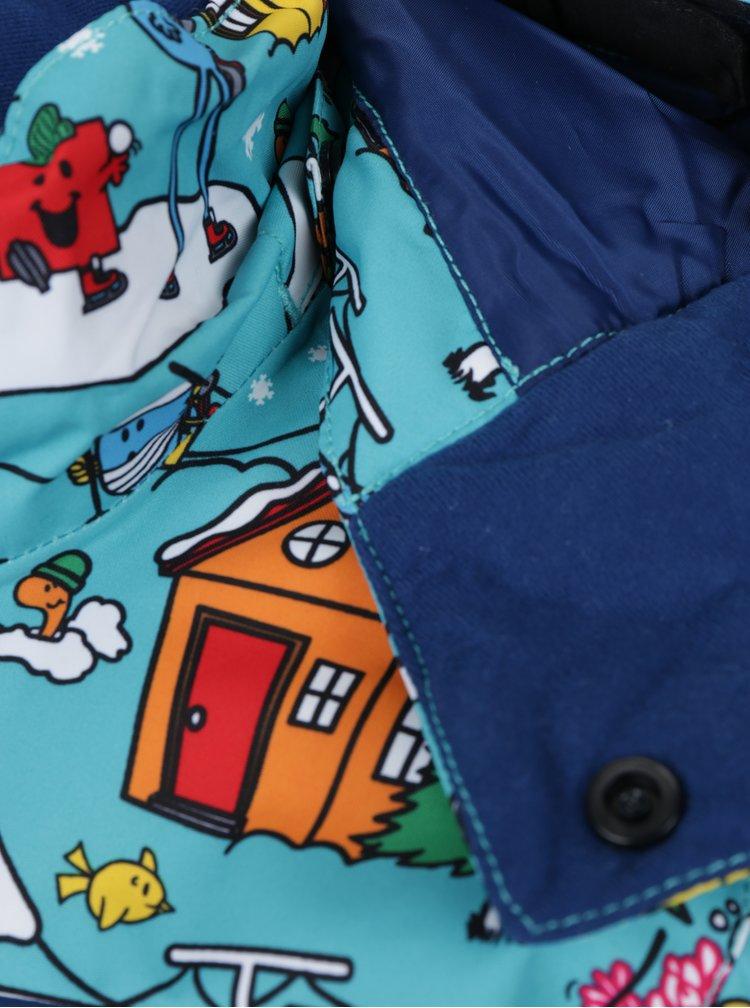 Modrá klučičí vzorovaná zimní voděodolná funkční bunda Quiksilver Mr. Men