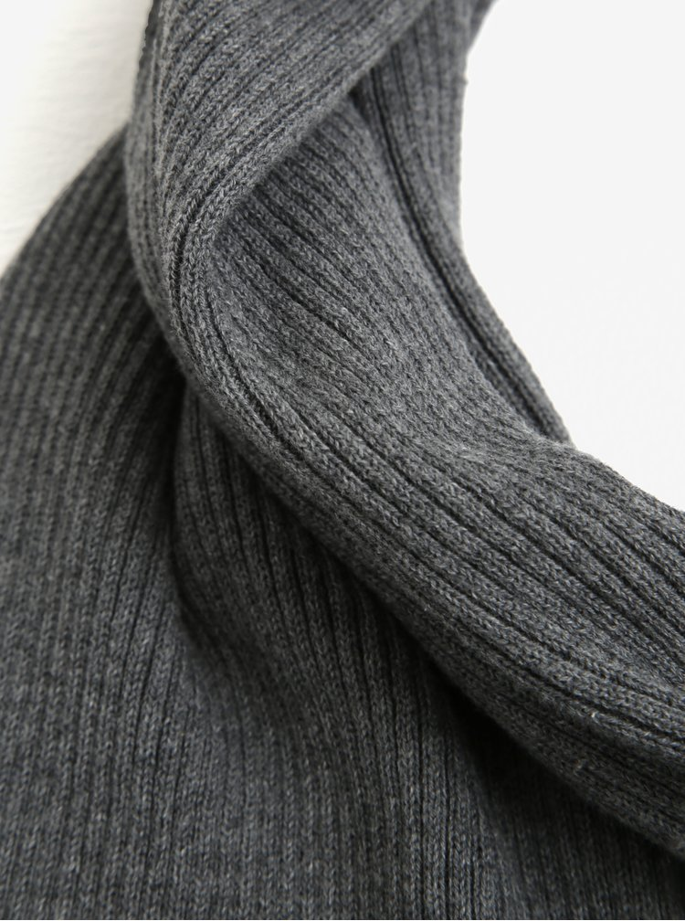 Fular gri melanj&negru cu logo cusut pentru barbati  s.Oliver