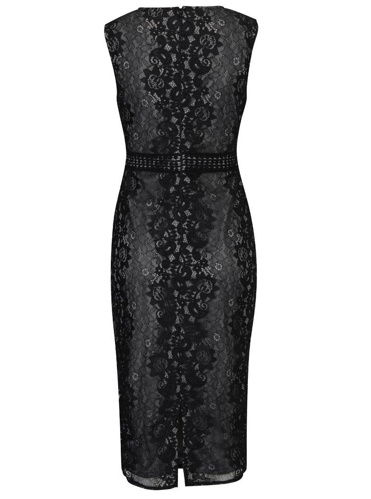 Černé pouzdrové krajkové šaty Ax Paris