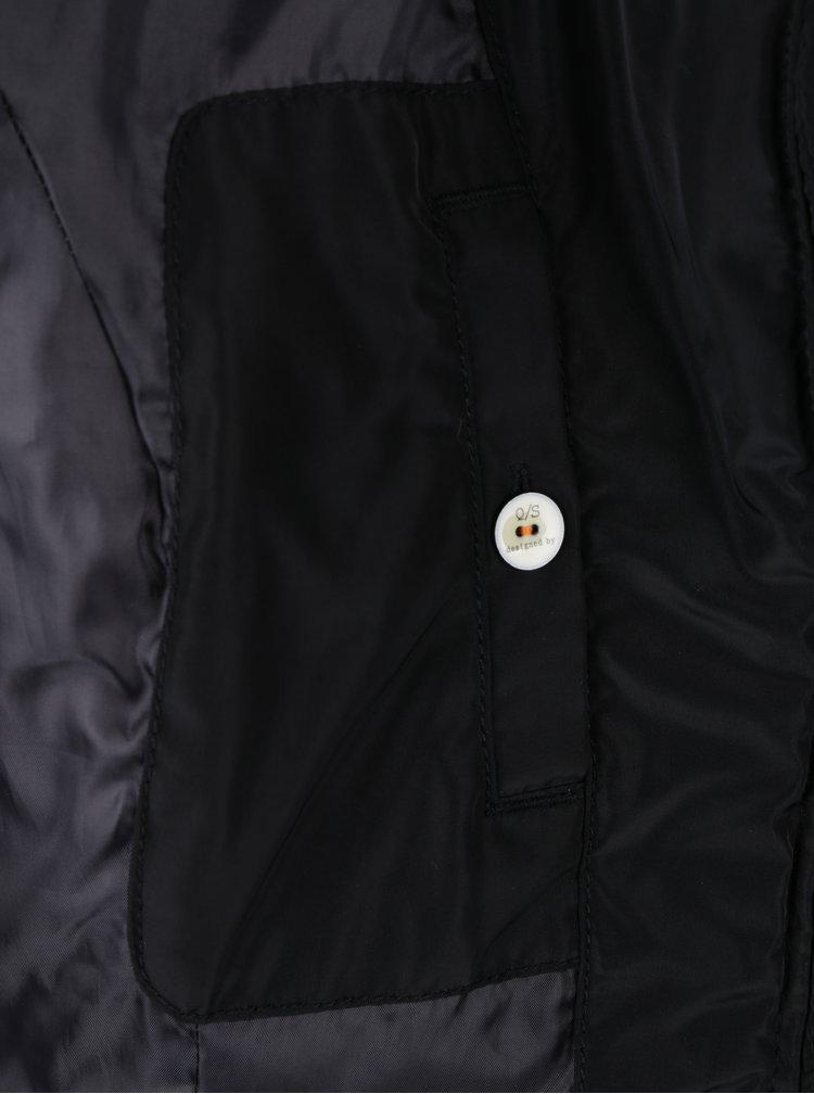 Černá dámská prošívaná bunda s vysokým límcem QS by s.Oliver