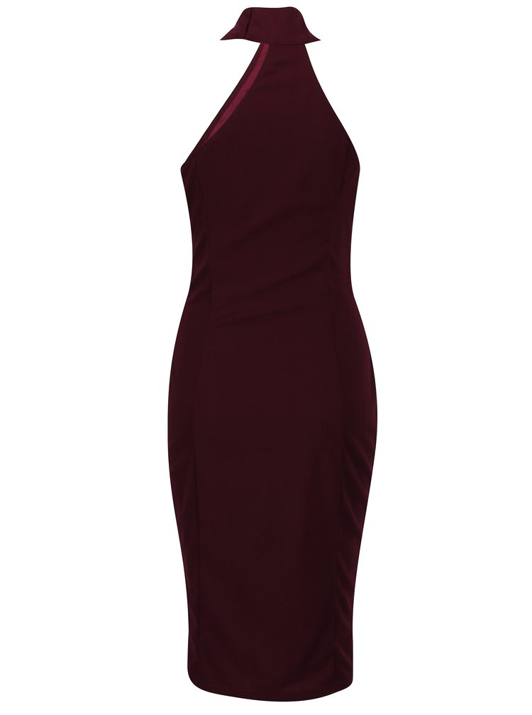 Vínové pouzdrové šaty s chokerem Ax Paris