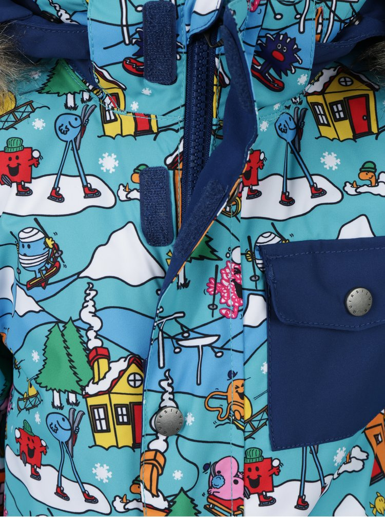 Modrá klučičí vzorovaná zimní voděodolná funkční kombinéza Quiksilver Mr. Men