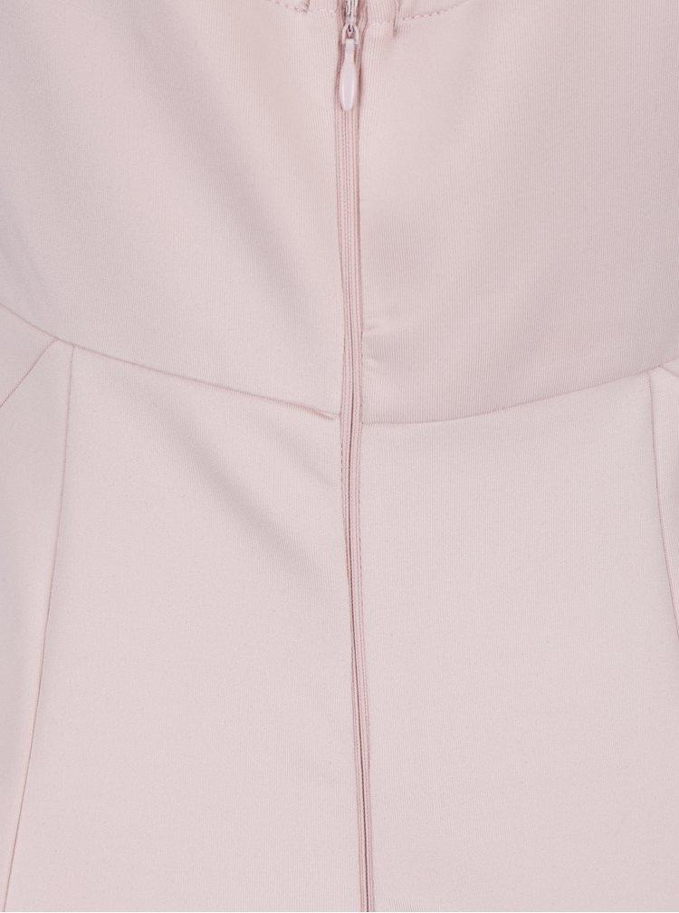 Světle růžové maxišaty s krajkovým topem a rozparkem AX Paris