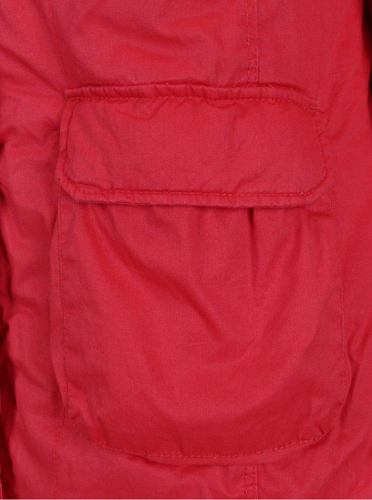 Červená dámská zimní parka s umělou kožešinou Cars Tummy
