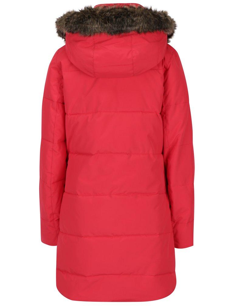 Červený dámský zimní voděodolný funkční prošívaný kabát Roxy Ellie
