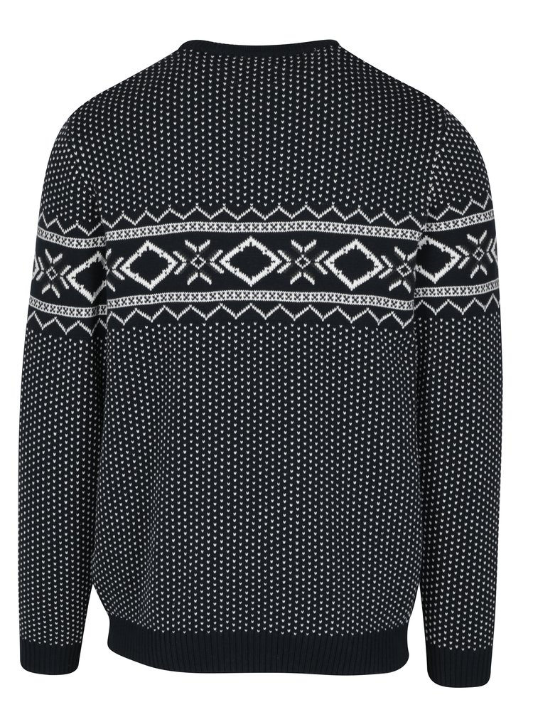 Tmavě modrý svetr s norským vzorem Selected Homme Blizzard