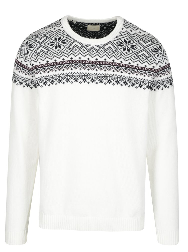 Pulover barbatesc crem cu motiv norvegian - Selected Homme Christ