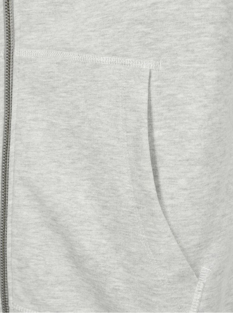 Světle šedá žíhaná mikina na zip Selected Homme Boris