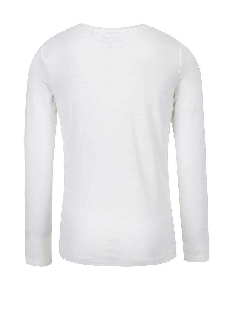 Krémové holčičí tričko s potiskem a dlouhým rukávem name it Hips