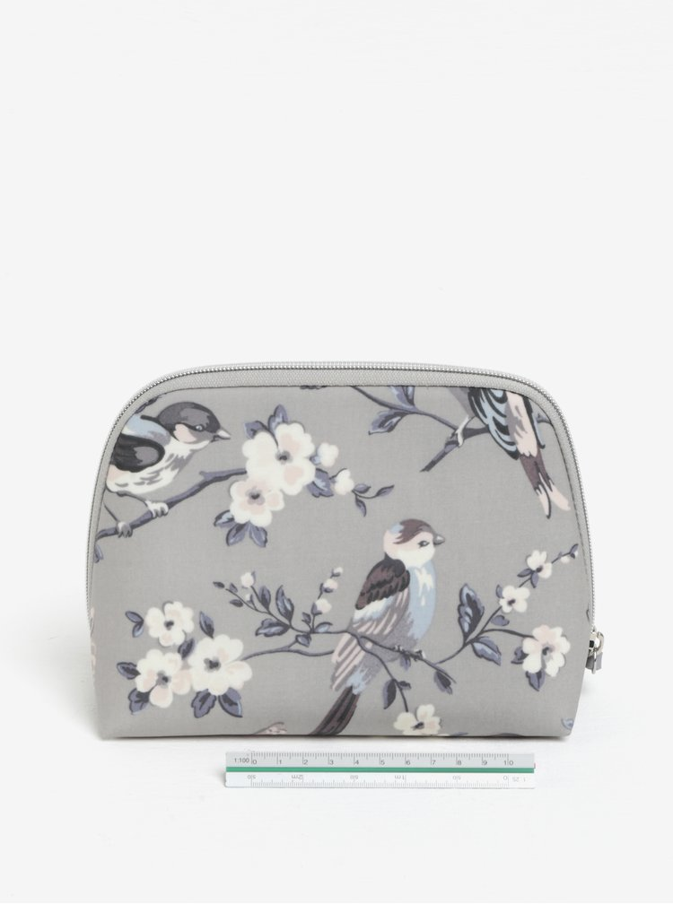 Světle šedá dámská vzorovaná kosmetická taštička Cath Kidston