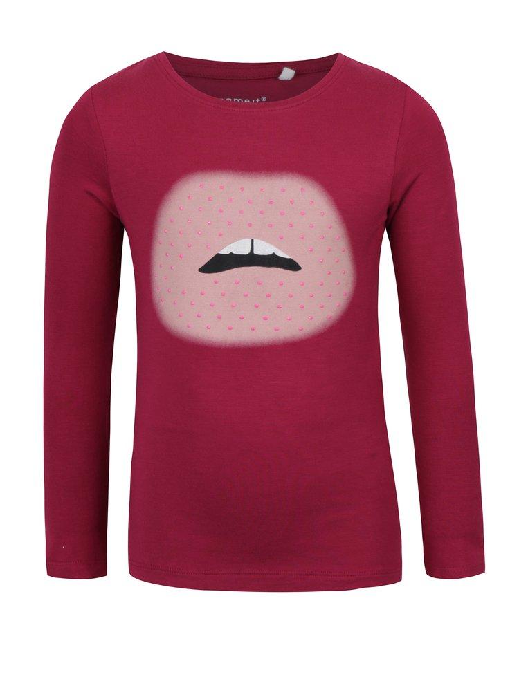 Růžové holčičí tričko s potiskem a dlouhým rukávem name it Hips
