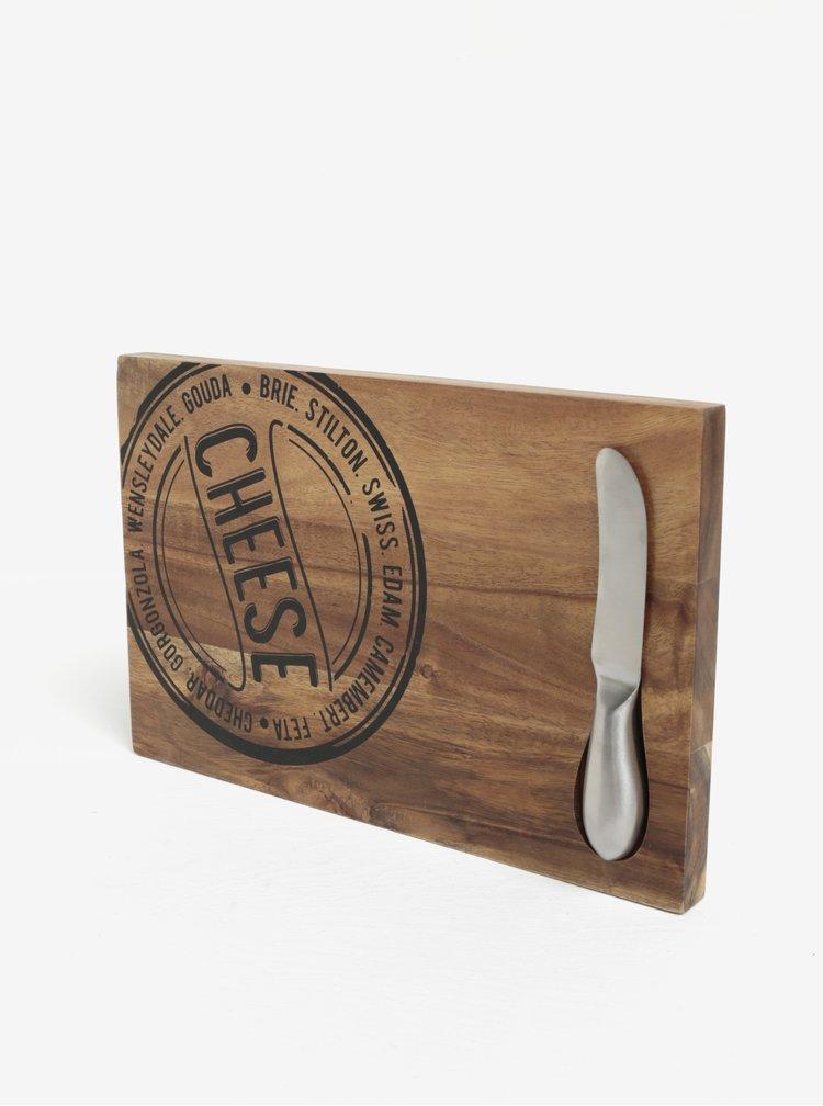 Set tocator maro cu inscriptie + cutit pentru branzeturi  SIFCON
