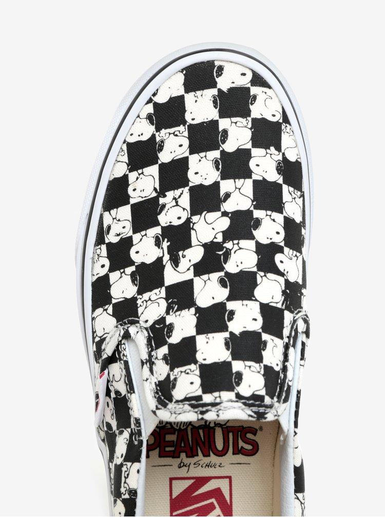 Tenisi slip-on alb&negru cu print pentru femei - VANS Classic Peanuts